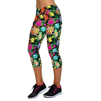 MULTI-COLOR FLOWERS - Cropped Yoga Pants Breathable Plus Sized Soft