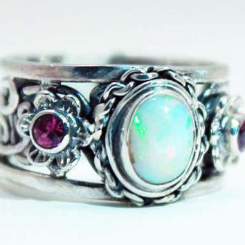 Beautifully Detailed Sterling Silver Ethiopian Opal & Garnet Flower ring