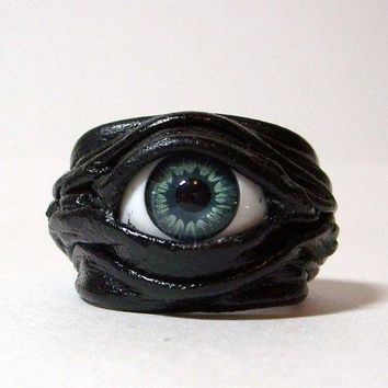 Evil Eye Adjustable Black Leather Ring