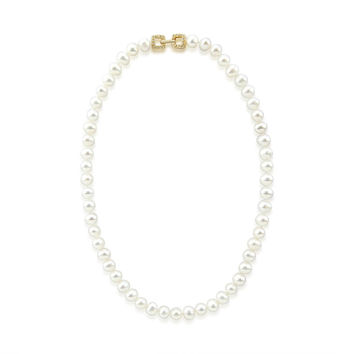 """7.0-8.0mm High Luster White Freshwater Cultured Pearl necklace 18"""" with Yellow-Gold-Tone Base Metal Clasp"""