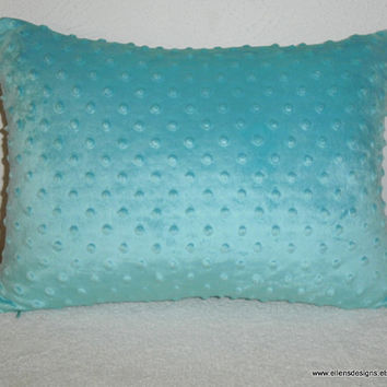 Decorative-Accent-Throw Pillow Cover- 12 1/2 x 17 inch Minky Dot in Aqua-Free Domestic Shipping