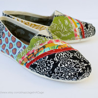 Tom's Fabric Covered Shoes STYLE 2 by JageInACage on Etsy