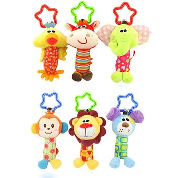 Infant Baby Bed Crib Soft Baby Toys Stuffed Animal Plush Toys Baby Teether Hanging Strollers Sound Toys