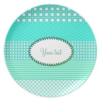 Pastel Turquoise Pattern Mix Melamine Plate