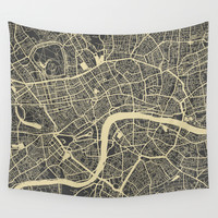 London Wall Tapestry by Map Map Maps