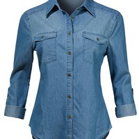 LE3NO Womens Lightweight Long Sleeve Button Down Denim Shirt