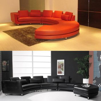 Curved Leather Sectional Sofa, Contemporary Curved Sofa - Opulentitems.com