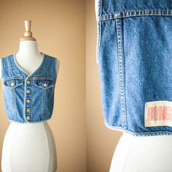 80s Bongo Denim Vest | Cropped Jacket 80s Denim Top Crop Top Punk Rocker Blue Jean Vest 80s Denim Jacket Jean Jacket Bongo Jeans 1980s Boho