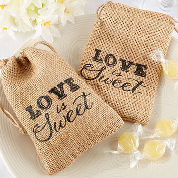 Love is Sweet Country Burlap Drawstring Favor Bag