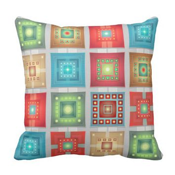 Bright Colorful Squares Throw Pillow