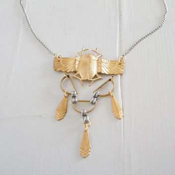 Art deco necklace/ Bug Pendant Necklace/ Statement Necklace/ Modern Necklace