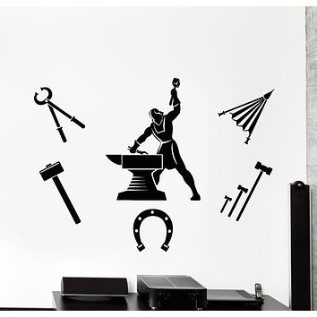 Vinyl Wall Decal Blacksmith Hammer Anvil Forging Metal Iron Stickers Mural (g2846)