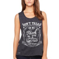 Zexpa Apparel™ Don't Tread On Me Women's Muscle Tee 1776 Liberty Or Death Political Tanks