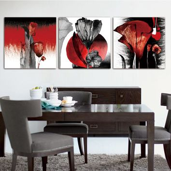 3Pcs/Set Modern Flower Wall Painting Abstract Red Flower Poppies Painting Print on Canvas Wall Art modular picture Home decor