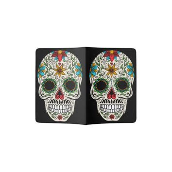 Day Dead Sugar Skull Passport Holder