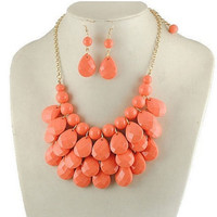 Coral Statement Necklace & Earring Set by 21mainstreet on Etsy