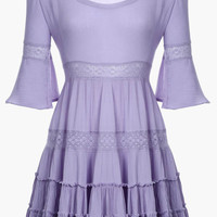 Bell Sleeve Mini Dress in Purple