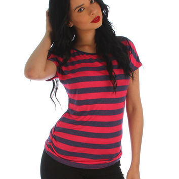 FUSCHIA NAVY STRIPED TEE WITH SIDE RUCHING