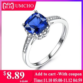 UMCHO Solid 925 Sterling Silver Ring Blue Sapphire Rings For Women Tanzanite Birthstone Gifts Costume Engagement Jewelry