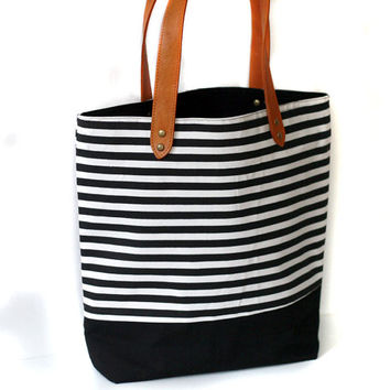 Canvas bag, black and white nautical stripe, beach back, canvas and leather bag, summer tote bag