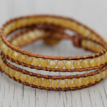 Beaded Leather Wrap Bracelet : Yellow Opal Luster and Natural Bohemian Beaded Double Wrap with Gold Tone Floral Button Closure