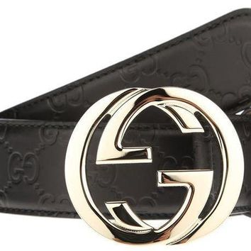 DCCK1 NEW GUCCI INTERLOCKING LARGE G BUCKLE BLACK SIGNATURE LEATHER BELT 90/36