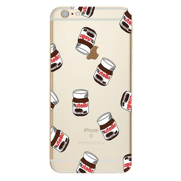 Lots of Mini Nutella Jars on Clear Phone Case For iPhone 7 7Plus 6 6s Plus 5 5s SE