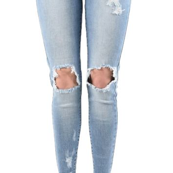 Kan Can Medium Wash Angle-Mara Ankle Skinny Jeans