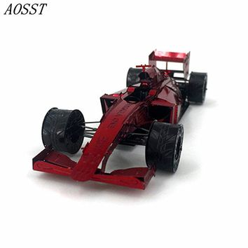 (AOSST) Red 3D Metal Puzzles Laser Cut Assemble DIY Models F1 Racing Car Jigsaws Toys New Year Gift Educational Toy