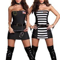 Sexy Cops and Robbers Strapless 7pc Costume Small/Medium Adult Womens