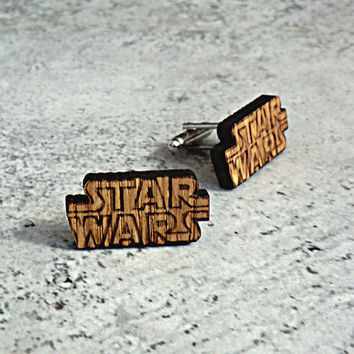 Star Wars Cufflinks Wooden Cufflinks Groomsmen gift ideas Star Wars gift Gifts for men Valentines gifts Groomsmen cufflinks