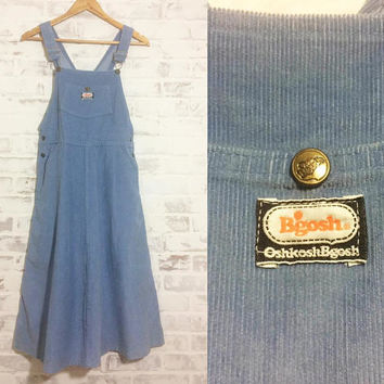 Vintage 1960's 1970's Osh Kosh B'Gosh PINAFORE Dusty Blue Corduroy Overall Apron Dress || Size Small To Medium