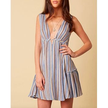 cotton candy la - on the stripe mini dress - blue