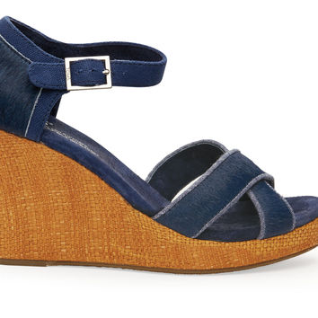 TOMS Ink Calf Hair Women's Strappy Wedge Blue