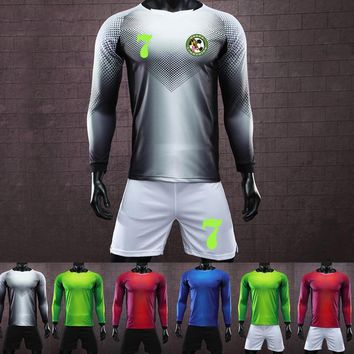 Long Men's Football Jersey Kit Tracksuit Custom top paintless men & kids soccer training jersey suit Goalkeeping Soccer Uniforms