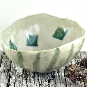 Ceramic Stoneware Bowl Cream with Teal Green Stripes & Cubes - Handmade Pottery Pinch Pot for Condiments by DeeDeeDeesigns
