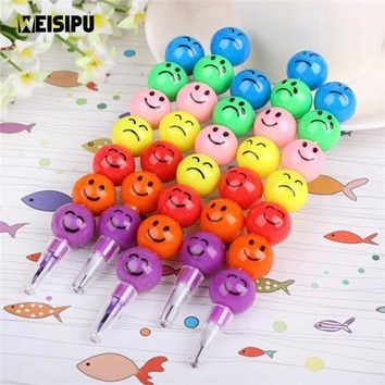 WEISIPU 1PC Colorful Ball Face DIY Pencils For Children Study Stationary Gifts Party Little Gifts Party Favors