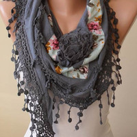 New - Triangular - Gray Scarf with Flowered Fabric and Trim Edge - Autumn Scarf