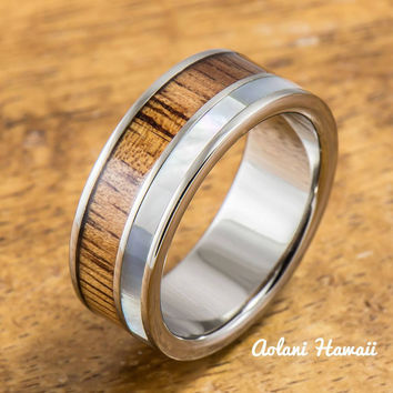 Titanium Ring with Koa Wood and Mother of Pearl Inlay (8mm width, Flat Style)