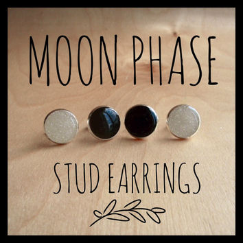 Moon Phase Earring Set. Black and Pearl Resin Sparkle Earrings, Full Moon and New Moon. Black and White Stud Earrings.