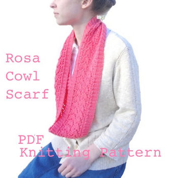 Rosa Cowl Scarf PDF Knitting Pattern, Infinity Eternity, Lace Pattern Mock Ribbing, DK/Light Worsted