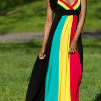 Color Block Backless Sexy Maxi Strap Dress - Fairyseason