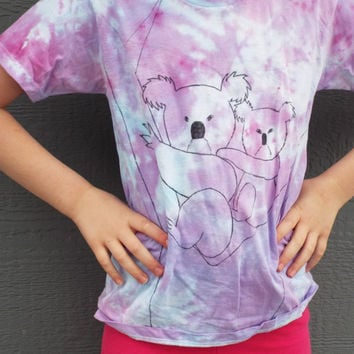 Koala Shirt, Kids Koala Bear Tshirt, Animal Shirt, Hippie Kids Clothes, Koala Gift, Kids Tie Dye Shirt, animal lover, tie dye koala
