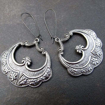 Big Silver earrings Gypsy Bohemian jewelry