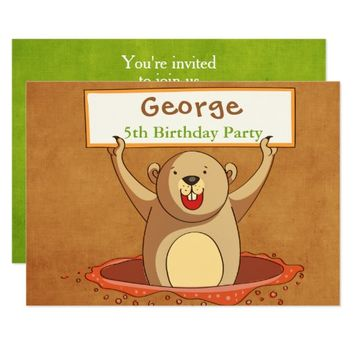 Brown Green Groundhog Party Invitation Card
