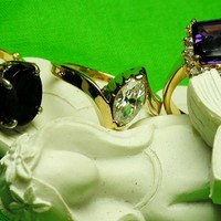Vintage Lind Costume Fashion Rings Collection of 3, Womens Size 8 Rings Trio Set Marked Lind - Simulated Faux Amethyst, Diamond & Onyx Looks