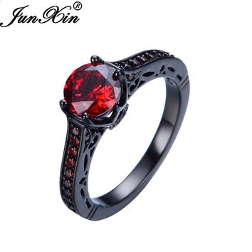 JUNXIN Fashion Jewelry Women Finger Rings 10KT Black Gold Filled Red Zircon Stone Wedding Engagement Jewelry High Quality