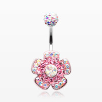Lovely Blossom Multi-Gem Sparkle Dangle Belly Button Ring