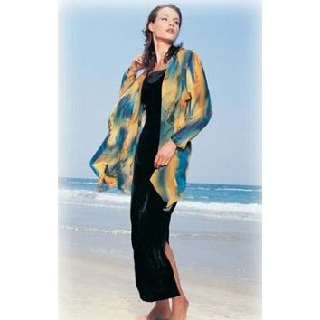 Long Jacket With Draped Front - Hand Painted Silk
