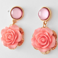 Pink Rose Earrings-Fashion Jewelry